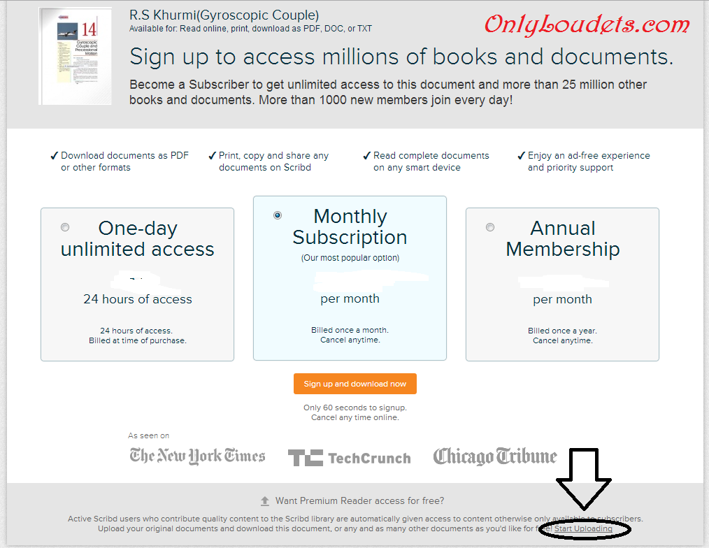 How to download pdf File/Book from Scribd without paying - OnlyLoudest