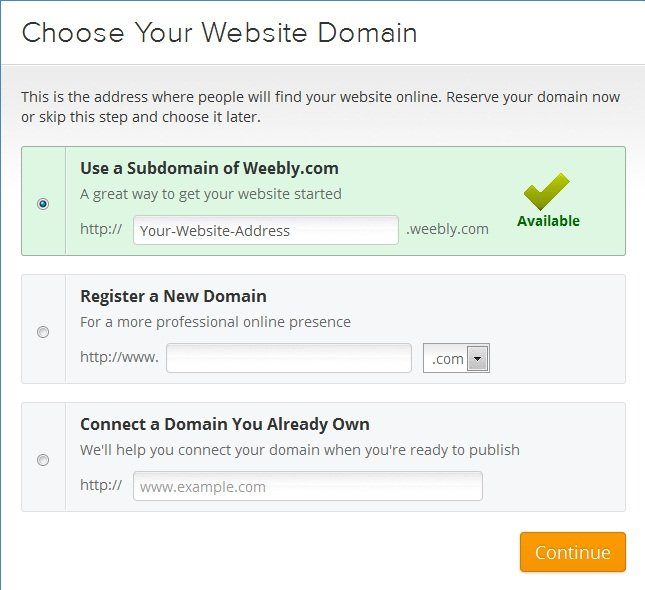 Choose Subdomain on Weebly