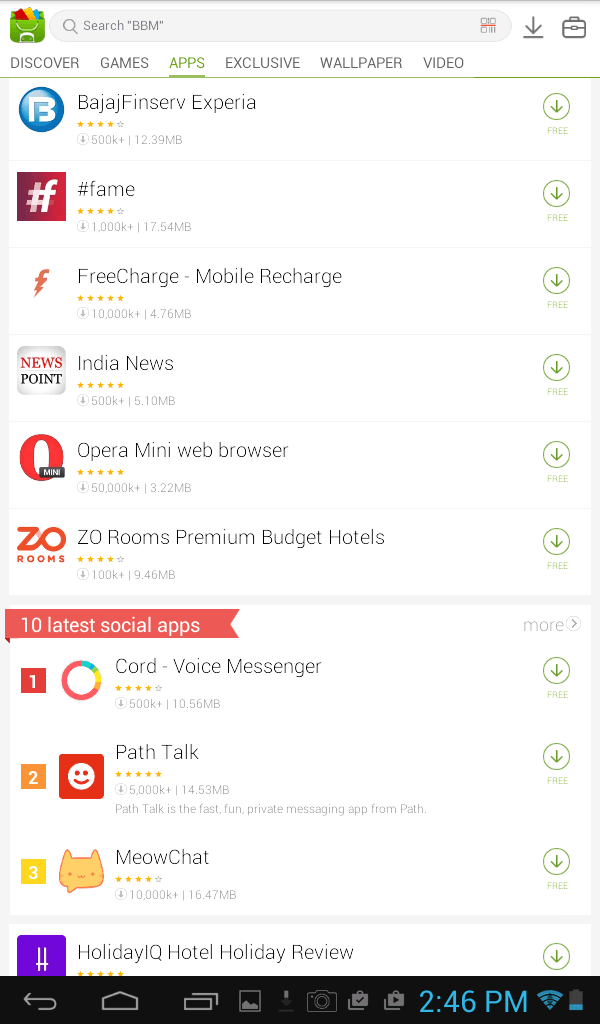 MoboMarket Apps Section
