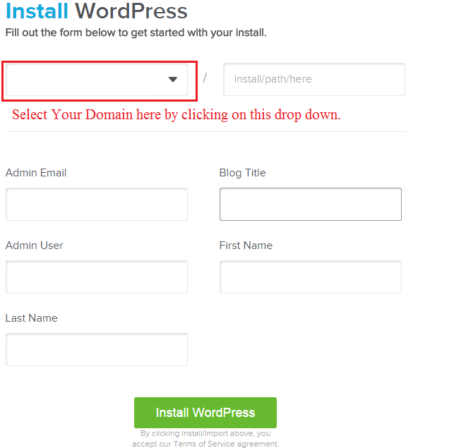 WordPress-Install-form